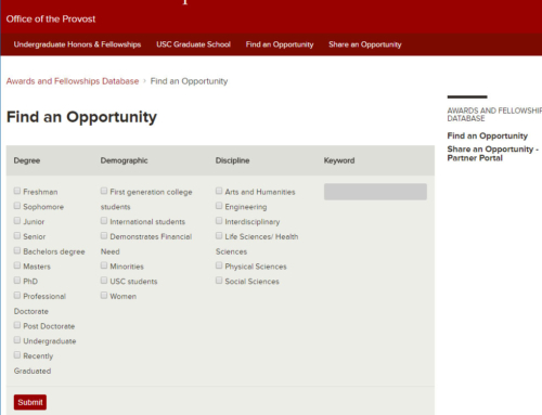USC –  Awards and Fellowships Database